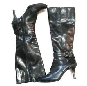 Gianni Bini Kool-It Black Buckle Knee High Boots 8